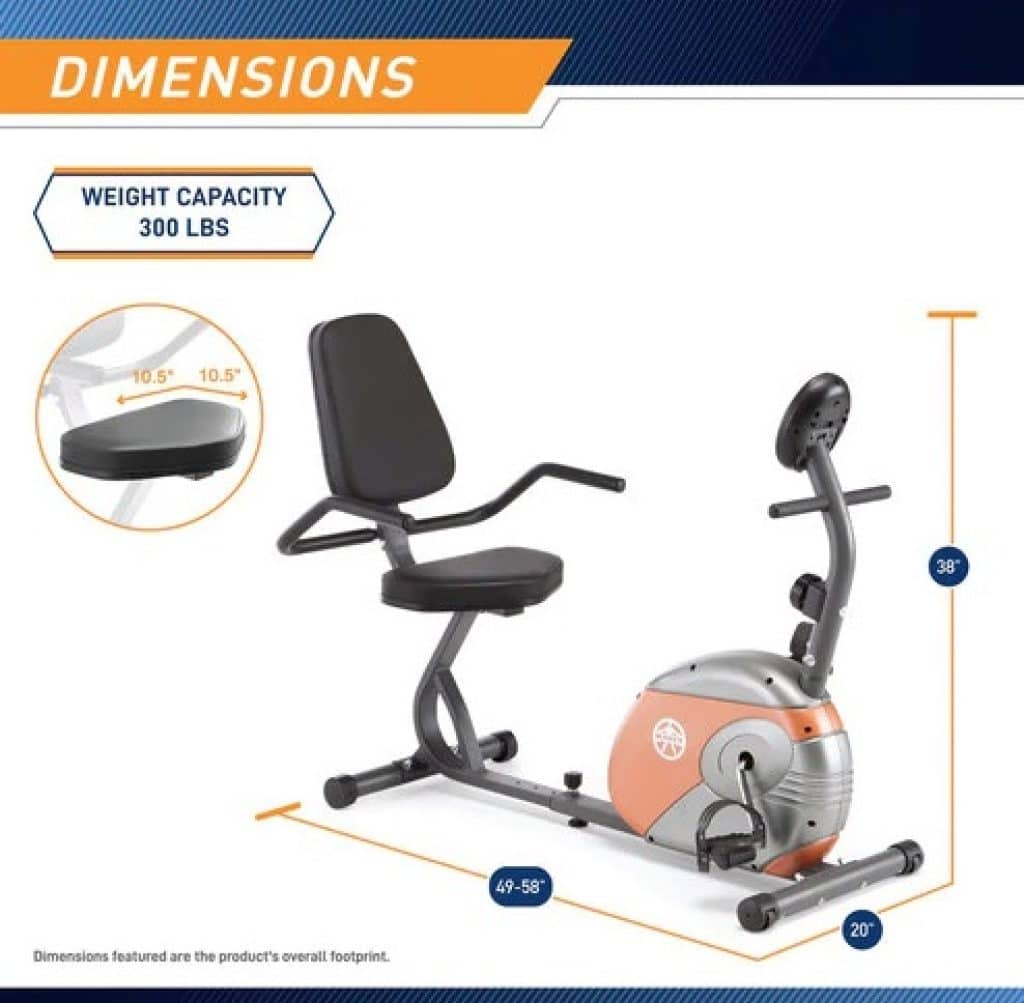 Dimensions of Marcy ME-709 - Budget Pick for the best exercise bike for seniors