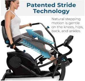 Patented Stride Technology of Teeter Recumbent Elliptical